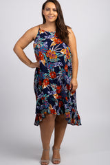 Navy Floral Ruffle Hi-Low Hem Plus Maternity Dress
