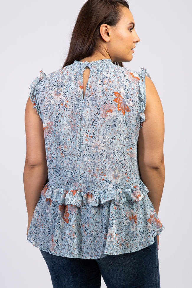 Light Blue Floral Ruffle Accent Plus Blouse