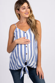 Blue Striped Button Down Knot Hem Maternity Top