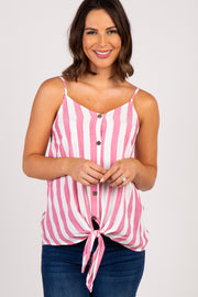 Red Striped Button Down Knot Hem Maternity Top