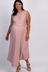 Mauve Stripe Maternity Plus Midi Dress