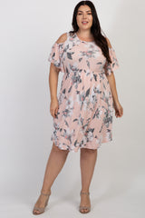 Pink Floral Cold Shoulder Maternity Plus Dress