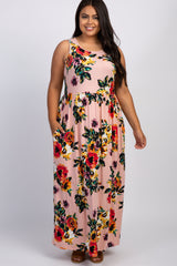 Blush Floral Maternity Plus Maxi Dress
