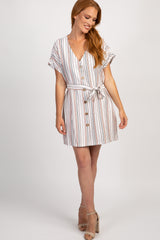 Peach Striped Button Front Tie Dress