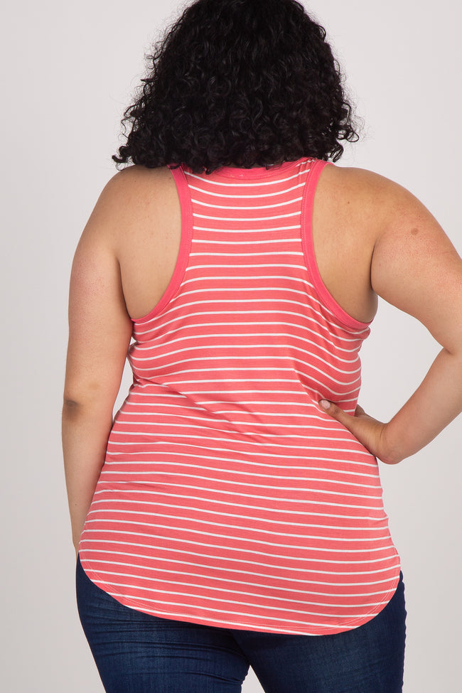 Coral Striped Plus Maternity Tank Top