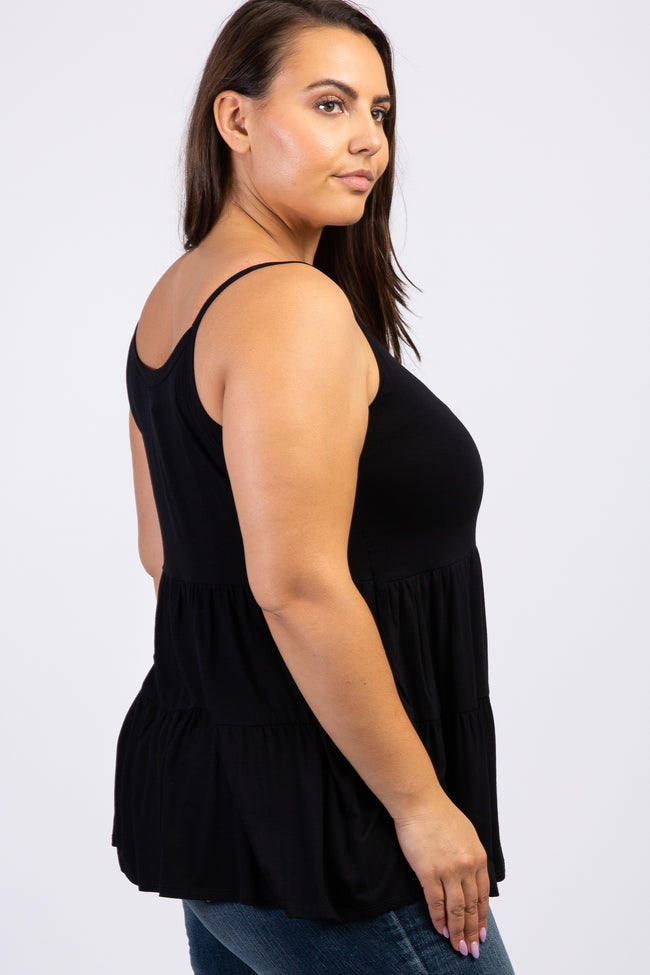 Black Solid Ruffle Peplum Plus Tank Top