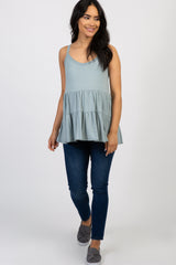 Light Blue Solid Ruffle Peplum Maternity Top