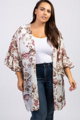 Cream Floral Ruffle Sleeve Plus Cover Up