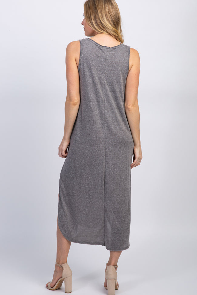 Charcoal Grey Heathered Sleeveless V-Neck Maternity Midi Dress