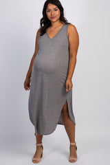Charcoal Grey Heathered Sleeveless Plus Maternity Midi Dress