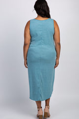Teal Heathered Sleeveless Plus Maternity Midi Dress