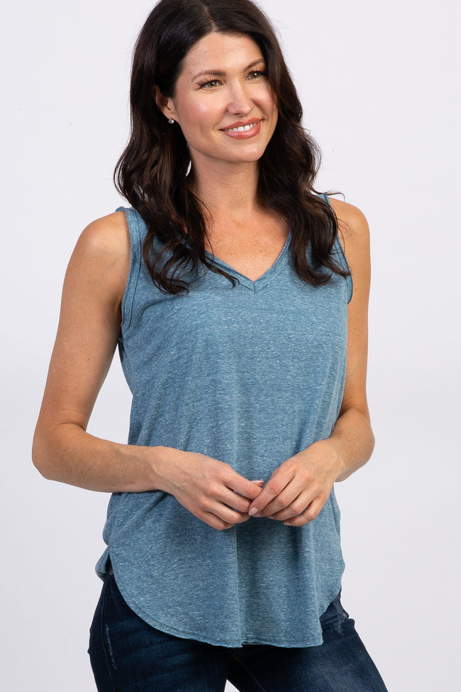 Teal Heathered Maternity Tank Top