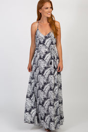 Navy Tropical Sleeveless Maxi Dress