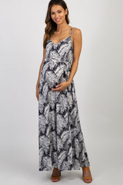 Navy Tropical Sleeveless Maternity Maxi Dress