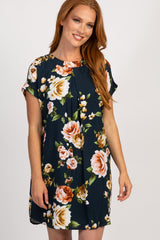 Navy Floral Short Sleeve Pleated Dress