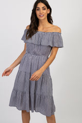 Navy Striped Off Shoulder Tiered Dress