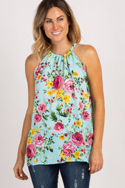 Mint Green Floral Sleeveless Halter Neck Top