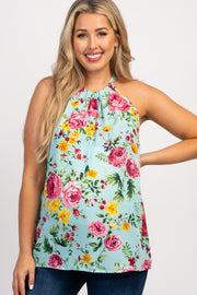 Mint Green Floral Sleeveless Halter Neck Maternity Top