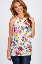 White Floral Sleeveless Halter Neck Top
