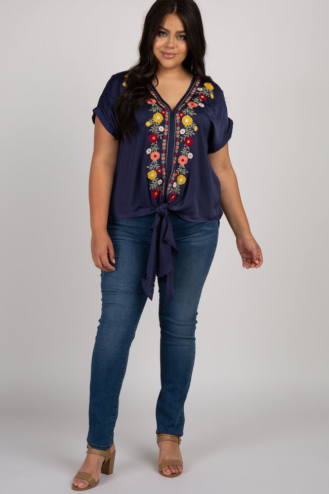 Navy Floral Embroidered Tie Front Plus Blouse