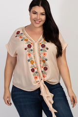 Beige Floral Embroidered Tie Front Plus Blouse