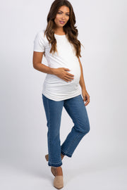 PinkBlush Navy Raw Cut Cropped Maternity Jeans