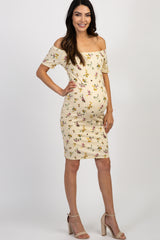 Beige Floral Off Shoulder Fitted Maternity Dress