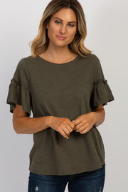 Olive Short Ruffle Sleeve Top