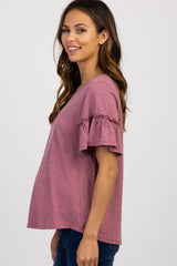 Mauve Short Ruffle Sleeve Top