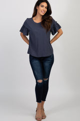Navy Short Ruffle Sleeve Top