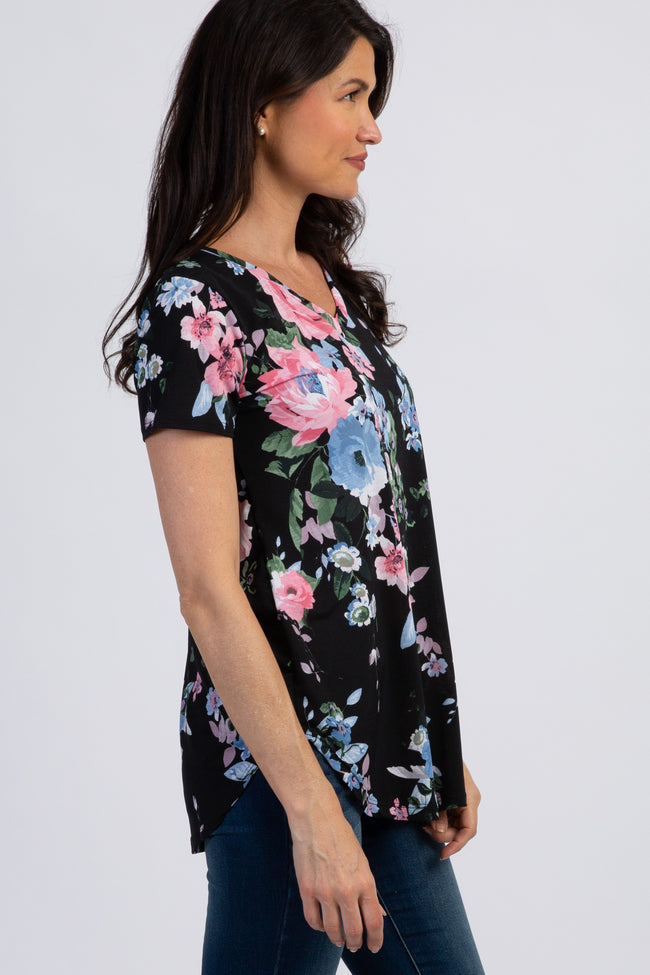 Black Floral Short Sleeve Top