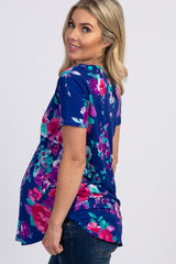 Royal Blue Floral Short Sleeve Maternity Top