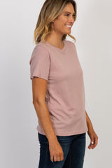 Mauve Solid Basic Short Sleeve Top