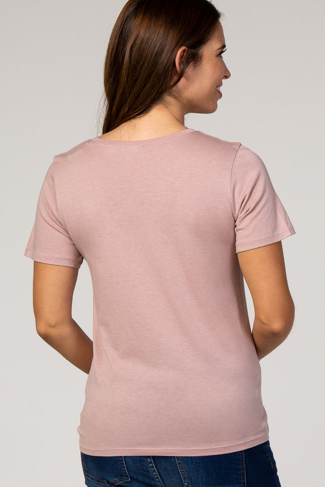 Mauve Solid Basic Short Sleeve Maternity Top
