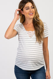 Heather Grey Striped Lace Trim Maternity Top