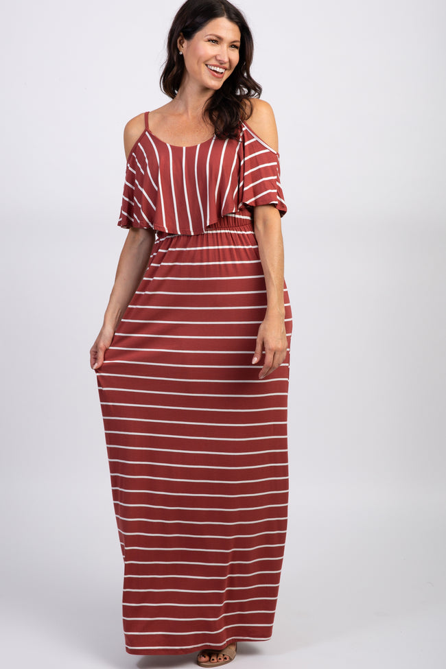 Rust Striped Cold Shoulder Maternity Maxi Dress