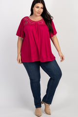 Magenta Bell Sleeve Lace Yoke Plus Top