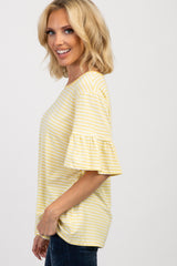 Yellow Striped Ruffle Sleeve Knit Top