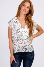 White Printed Wrap Peplum Top