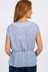 Light Blue Printed Wrap Peplum Top