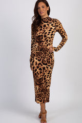 Leopard Print Mock Neck Fitted Dress