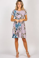 PinkBlush Grey Floral Cinched Maternity Dress