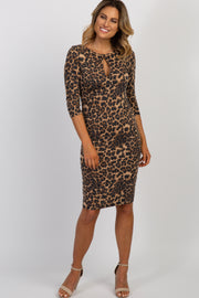 Brown Leopard 3/4 Sleeve Cutout Fitted Dress