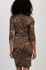 Brown Leopard 3/4 Sleeve Cutout Maternity Fitted Dress