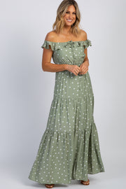 Olive Polka Dot Tiered Maxi Dress