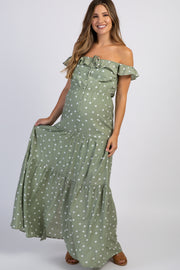 Olive Polka Dot Tiered Maternity Maxi Dress