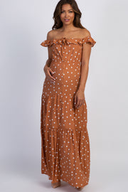 Rust Polka Dot Tiered Maternity Maxi Dress