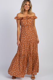 Rust Polka Dot Tiered Maxi Dress