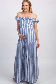 Blue Striped Off Shoulder Maternity Maxi Dress