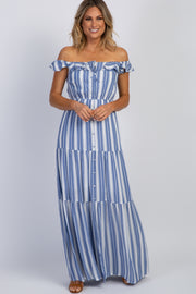 Blue Striped Off Shoulder Maxi Dress